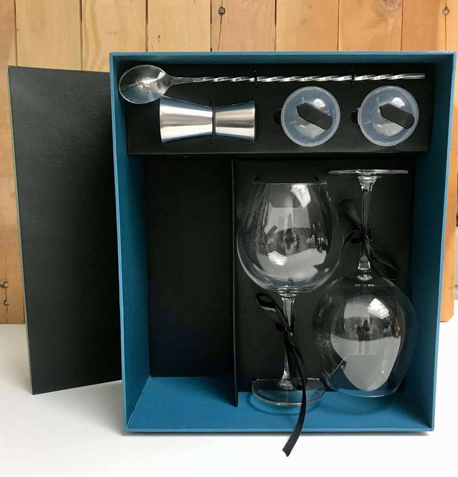 Afbeelding Luxe box voor 1 fles gin + 4 acc + 2 glazen