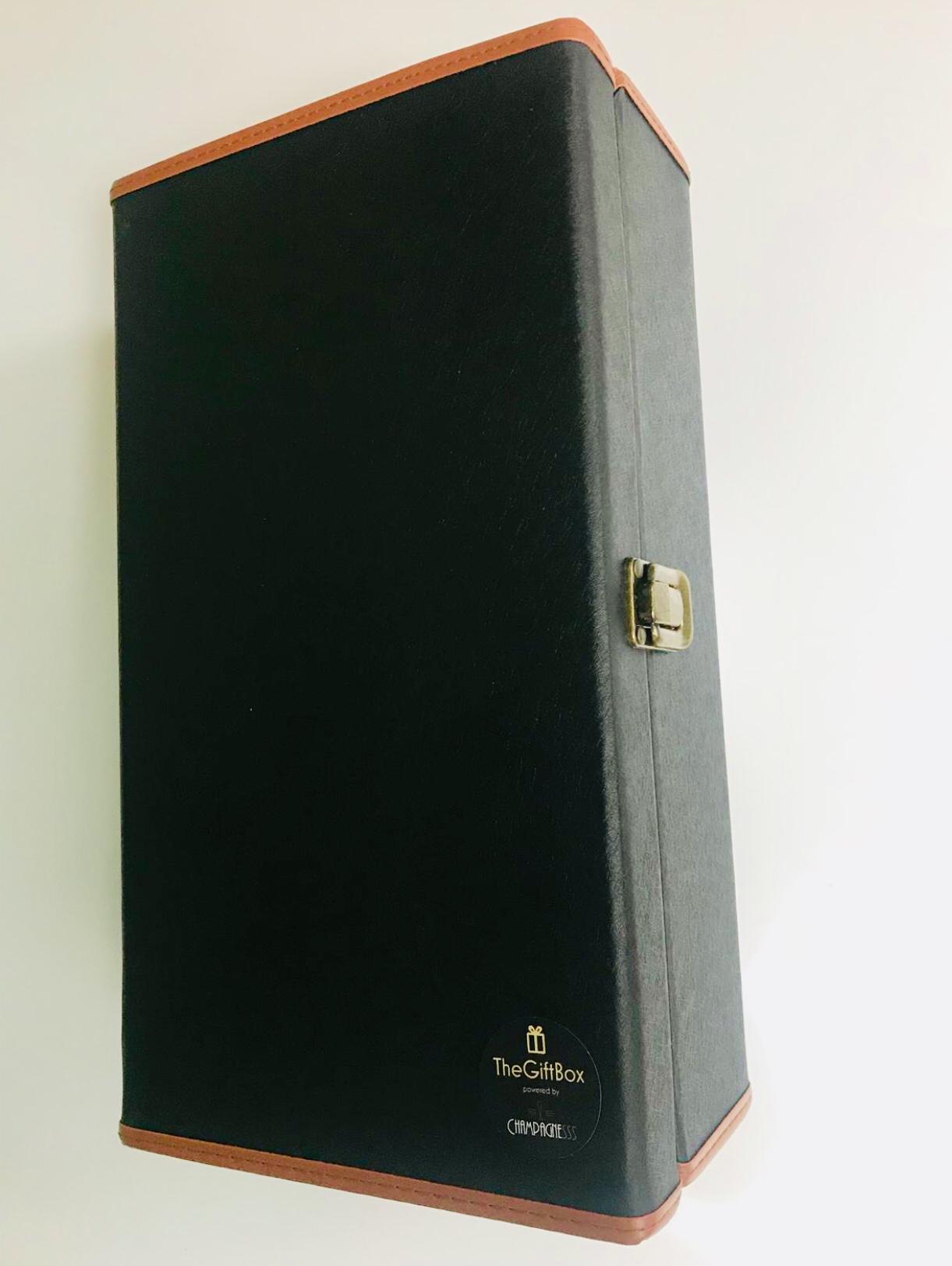 Design koffer voor 2 flessen zwart/bruin